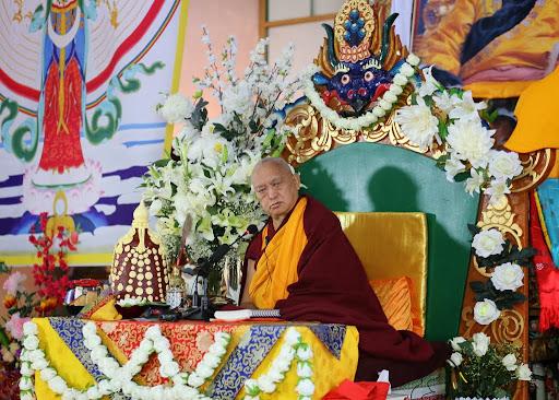 Lama Zopa Rinpoche at long life puja, Idgaa Chozinling Dratsang, Ulaanbaatar, Mongolia, August 30. 2013. Photo by Ven. Thubten Kunsang.
