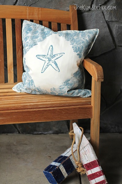Shell and starfish nautical pillow
