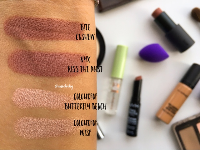 bite beauty multistick cashew swatch, nyx full throttle lipstick kiss the dust nc40 swatch, colourpop butterfly beach nc40 swatch, colourpop wisp nc40 swatch, colourpop butterfly beach vs wisp