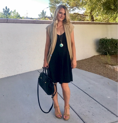 Thrifty Wife, Happy Life- Cardimom worn with a black dress