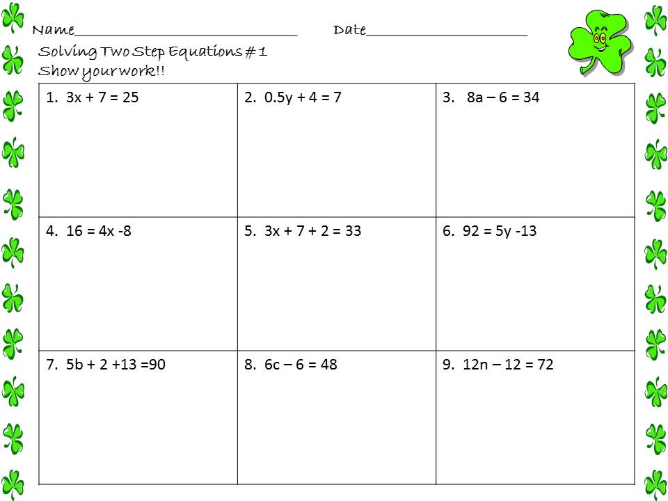 Two Step Equation Worksheets – Cute766
