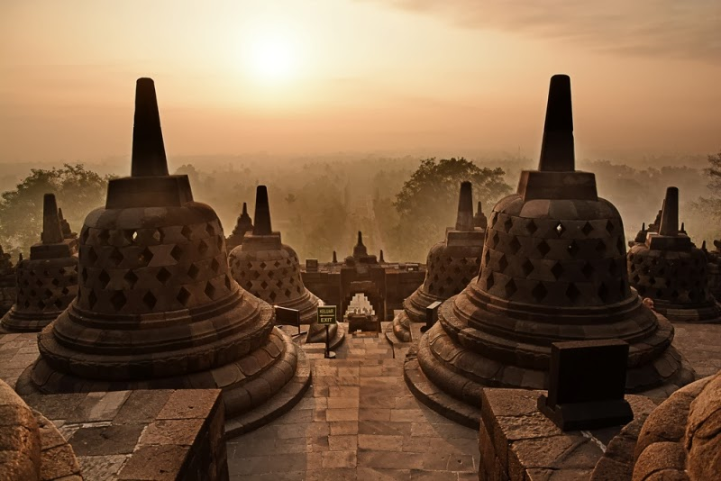 Beaming Sun in Borobudur