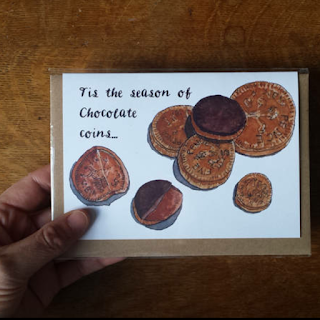 Chocolate Coins Christmas card by Alice Draws The Line