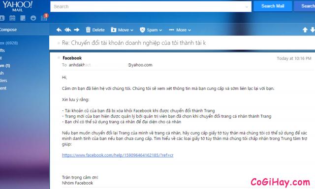 Email thông báo đã nhận đơn yêu cầu chuyển đổi Facebook