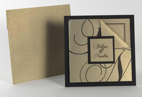 Invitación en dorado y chocolate para boda
