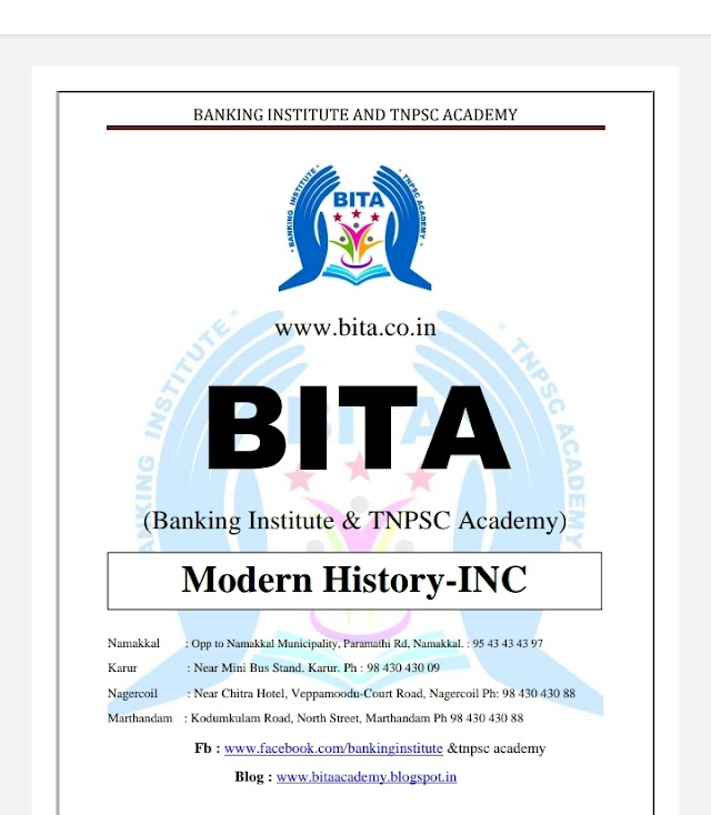 TNPSC Exam -  Modern History - INC Question & Answer  By BITA Academy ( 04 January  2021 )
