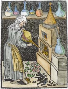 Woodcut Of Distillation From Michael Puff Von Schrick 1478, Alchemical And Hermetic Emblems 2