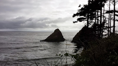 At Heceta Head Lighthous Viewpoint, the view of Cape Creek Cove