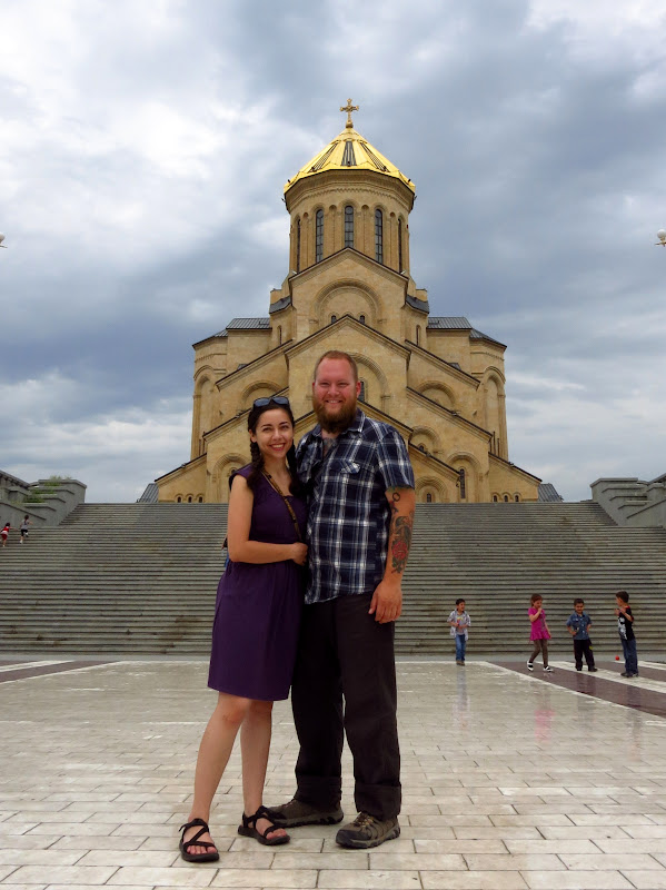 Tony and Alicia at Holy Trinity Cathedral, Tbilisi