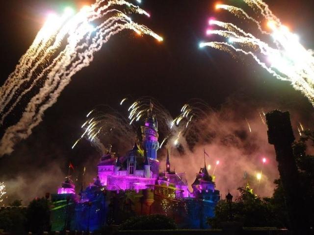 Fireworks to end the day at Disneyland Hongkong
