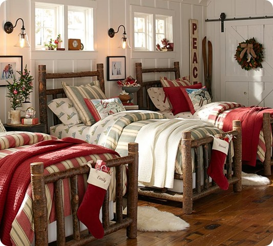 pottery barn christmas bedroom