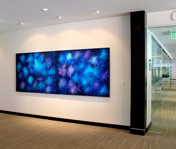 Victor Angelo Blue Horizontal Painting Corporate Glass Office