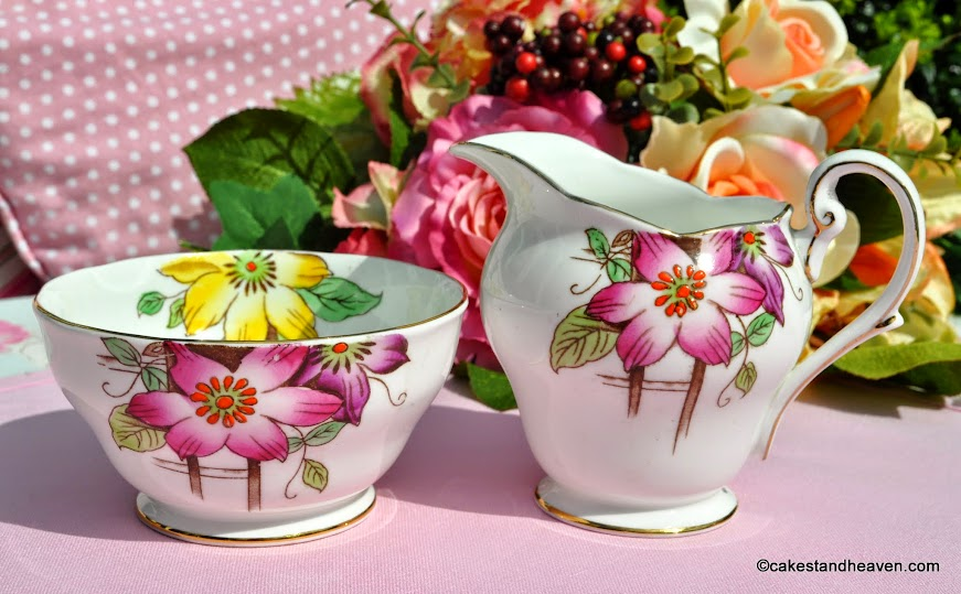 Royal Standard Garden Terrace hand painted creamer and sugar bowl