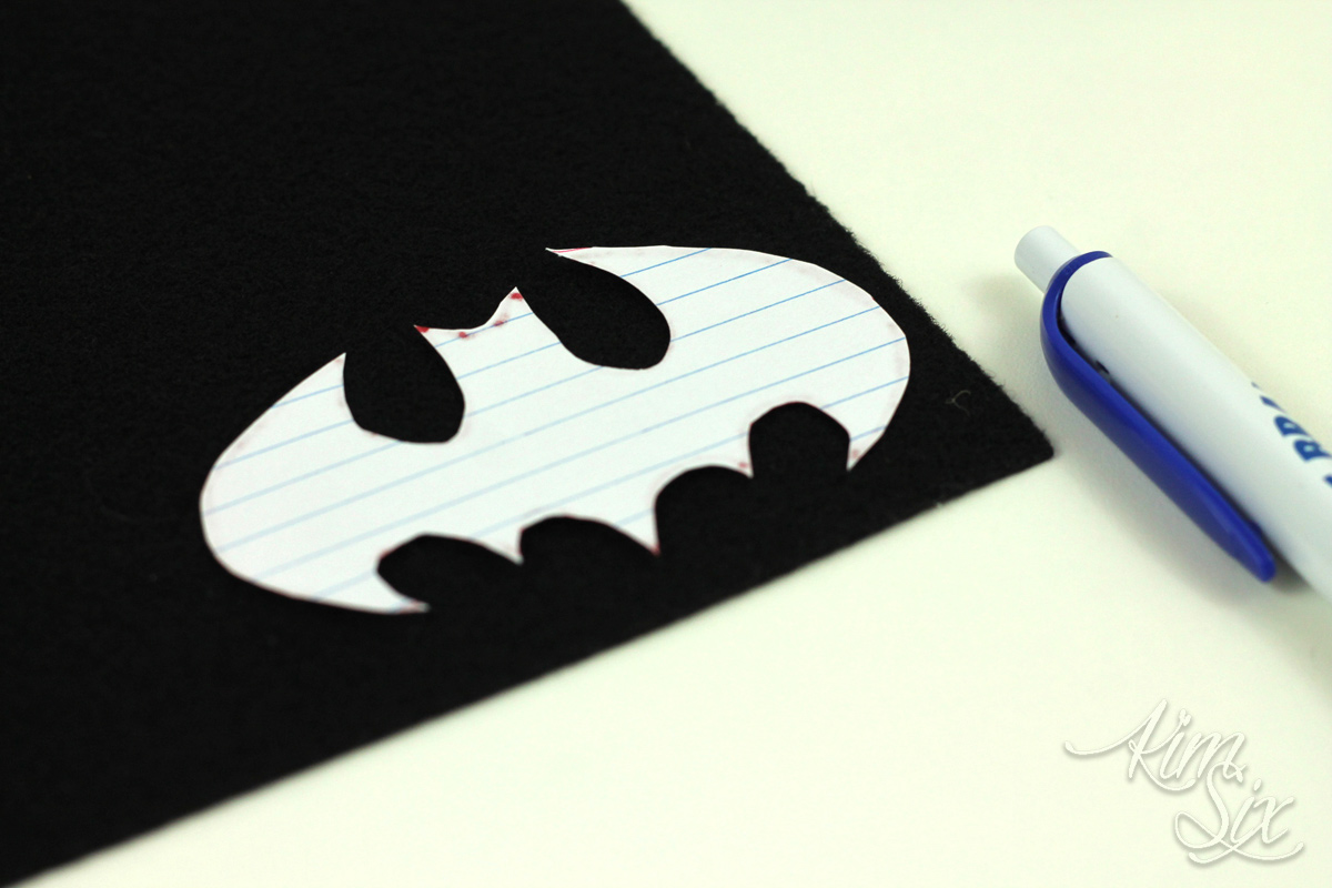 Cutting out batman out of felt