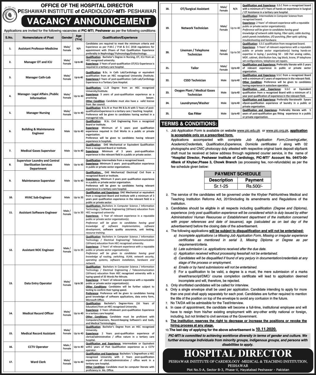 7038+Vacancy in Peshawar Institute Of Cardiology MTI Jobs October 2020
