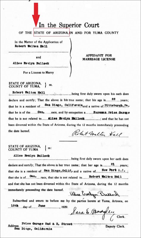 HALL_Robert W Sr and Evelyn BULLOCK marriage license_15 Jun 1929_YumaArizona_annotated
