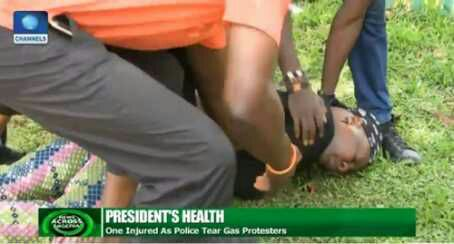 Pics: Charlyboy faints after police officers used tear gas on him