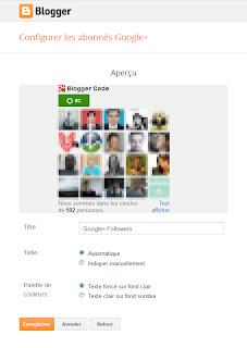 Panneau de configuration du gadget Abonnés Google+