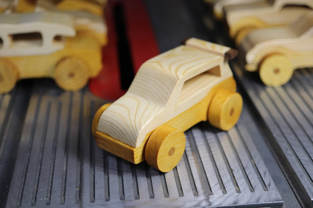 Handmade Wooden Toy Car Hot Rod Roadster Mini Van From The Speedy Wheels Series