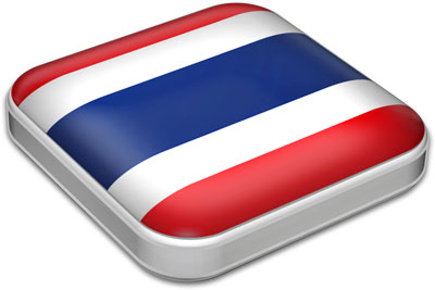 Flag of Thailand with metallic square frame