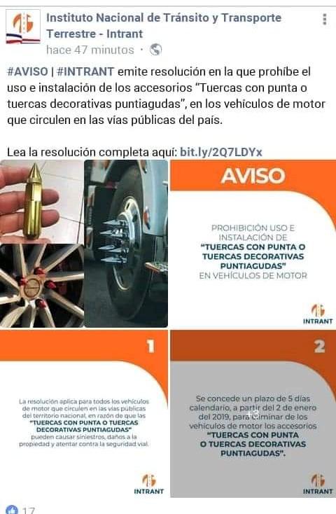 """INTRANT prohíbe uso e instalación de accesorios """"Tuercas con puntas o decorativas puntiagudas"""" en vehículos"""