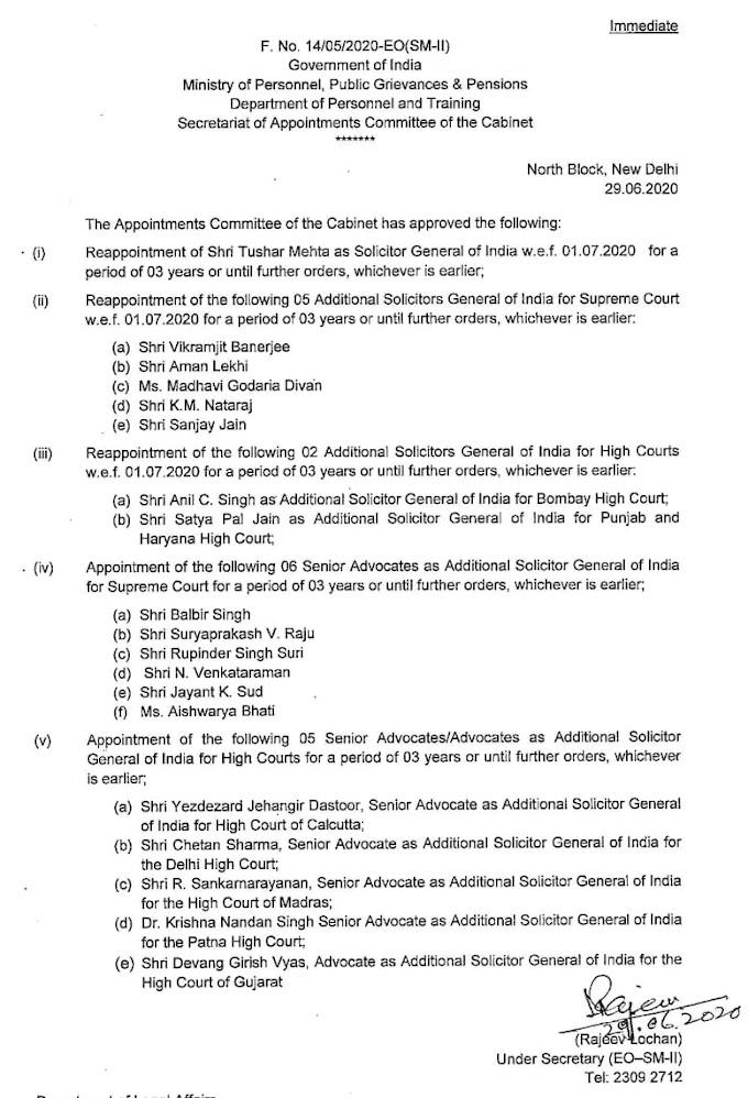 69000 भर्ती: सॉलिसिटर जनरल सर का कार्यकाल बढ़ाया गया