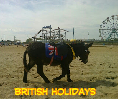 colourful harnessed donkey walking up the beach with caption British Holidays
