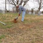 George Wilkerson works on the footstone of his great, great grandfather, Edward Gleaves in the   Gleaves-Clements Cemetery Hermitage, Tennessee