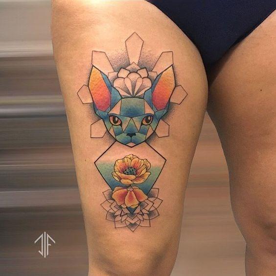 flores_e_gato_coxa_tatuagem