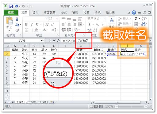 利用 Indirect( ) 函數顯示其他儲存格的資料
