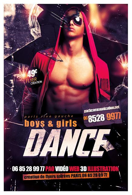 création flyers soirées thème boys and girls DANCE