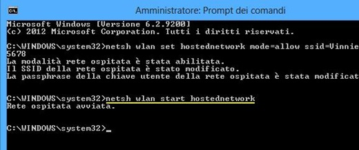 Avviare hotspot wifi dal prompt dei comandi su Windows 8 e 7