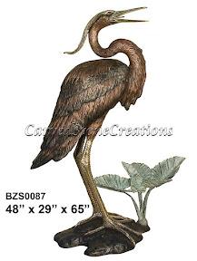 Bronze, Crane, Heron, Statue
