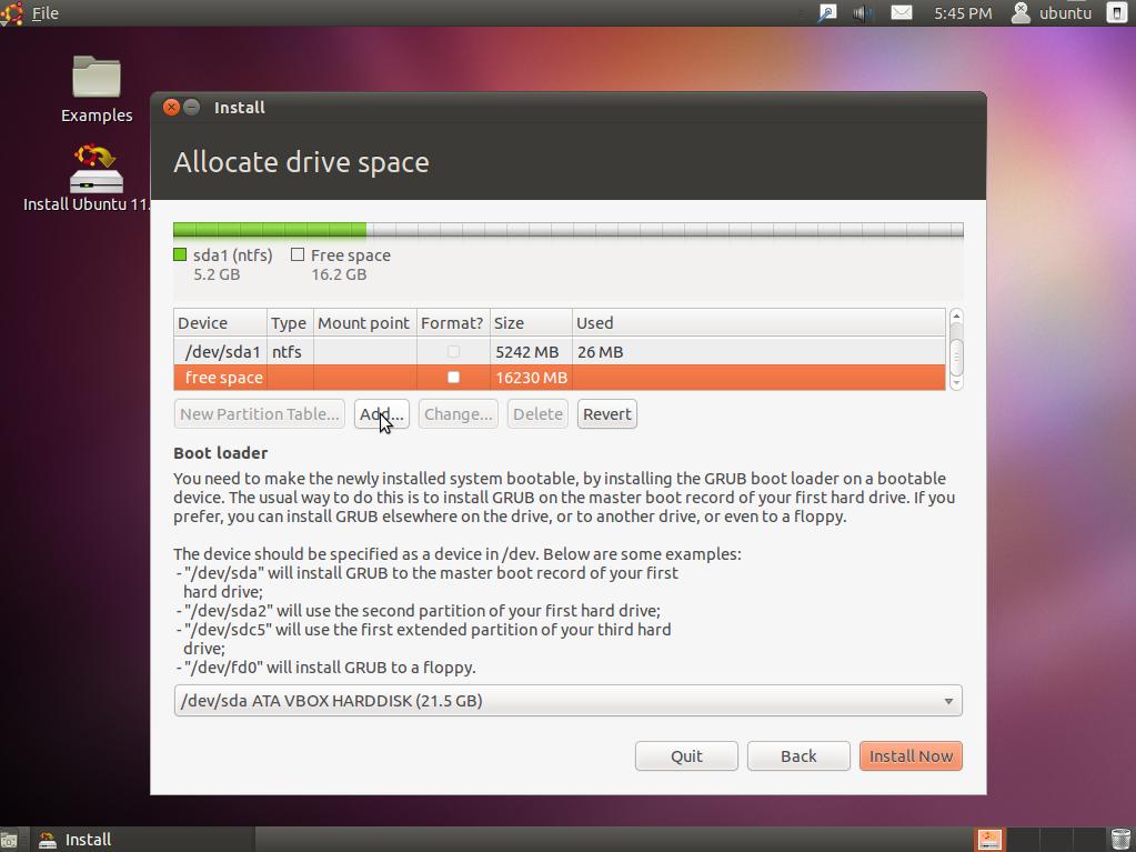 Manual / Advanced Partitioning in Ubuntu Installer (Windows