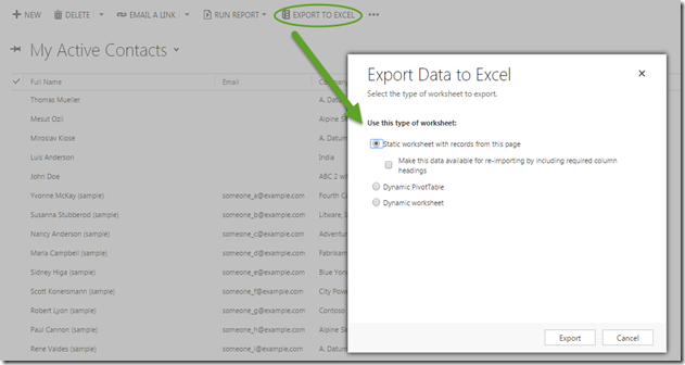 What's New: CRM 2015 Update 1 Export to Excel, Catch the