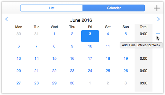 Timesheet in Calendar in view