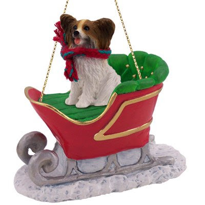 Papillon Sleigh Dog Christmas Ornament