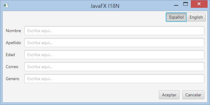 Crear una GUI JavaFX Internacionalizable, soporte para varios idiomas