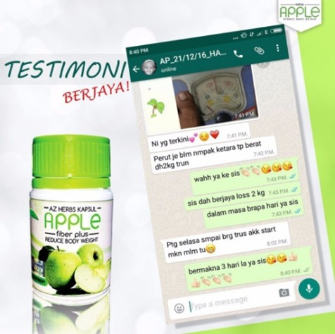 testimoni apple fiber plus 2