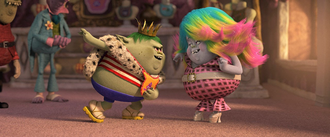 Young Bergen King Gristle (voiced by Christopher Mintz-Plasse) and Bergen scullery maid Bridget (voiced by Zooey Deschanel) in TROLLS. (Photo courtesy of DreamWorks Animation).