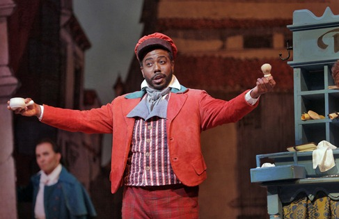 ARTS IN ACTION: Baritone SIDNEY OUTLAW, Greensboro Opera's Dandini in Rossini's LA CENERENTOLA, as Figaro in Atlanta Opera's IL BARBIERE DI SIVIGLIA in April 2014 [Photo by Ken Howard, © by Atlanta Opera]