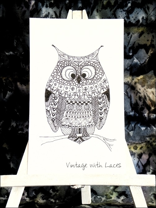 ICAD - Doodle Owl by Vintage with Laces