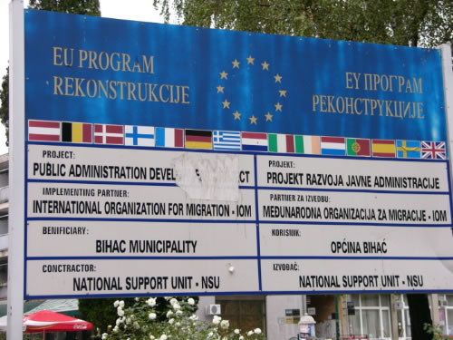 The European Union donates funds for reconstruction in Bosnia.