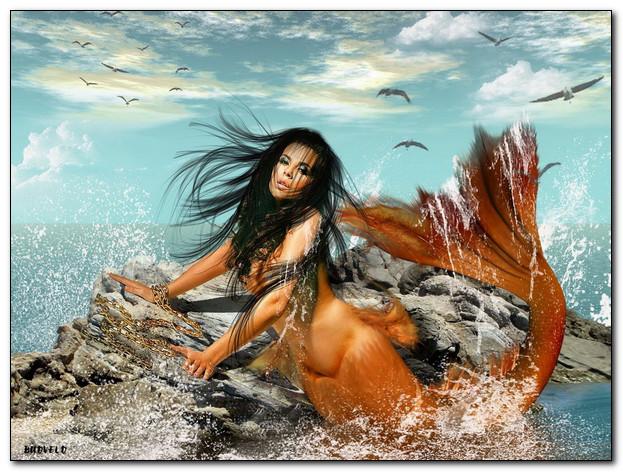 Морские девы с рыбьими хвостами