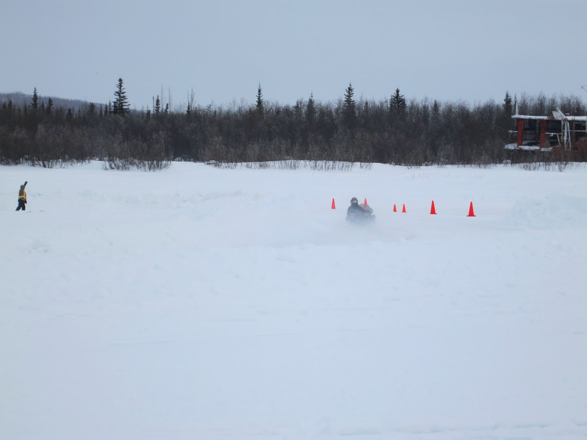 Skidoo taking on a sharp curve