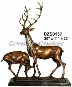 Bronze, Elk, Pair, Statue
