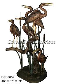 Bronze, Cranes, Fountain, Heron, Statue