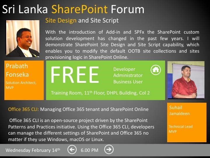[Office+365+CLI+-+Managing+Office+365+tenant+and+SharePoint+Online+-+Suhail+Jamaldeen+-+Suhail+Cloud+-+SharePoint+Forum+Sri+Lanka%5B2%5D]