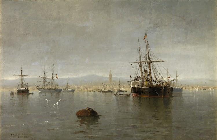 Bahia de Algeciras a finales del siglo XIX con unos buques sin identificar. Cuadro de Angel Cortellini. Museo Carmen Thyssen..jpg