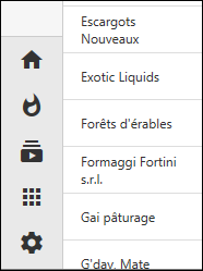 Sidebar displays page icons when specified in apps created with Touch UI.
